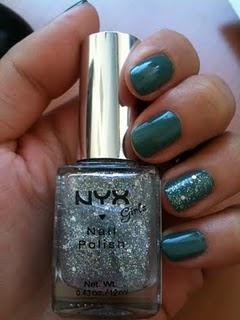 Vernis vert jade Kiko et top coat pailleté NYX