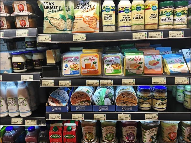 Wholefoods, le paradis vegan (on trouve maintenant toutes ces marques en France, mais il faut aller en magasin vegan spécialisé ou sur Internet... alors se retrouver face à un rayon 100% vegan dans un magasin de centre-ville un dimanche matin, c'est comment dire : le bonheur ?)